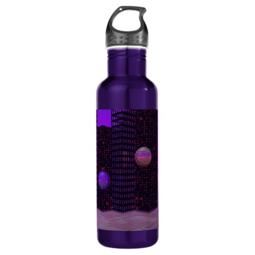 Monolith Quest, Abstract City Violet Water Bottle