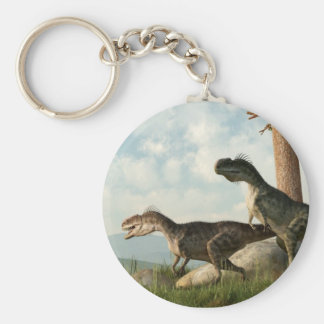 Monolophosaurs on the Hunt Keychain