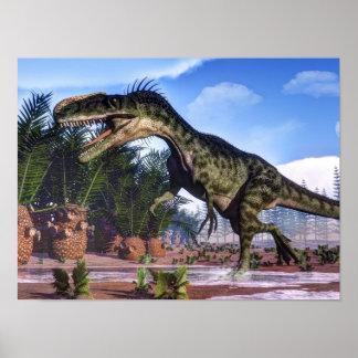 Monolophosaurus dinosaur - 3D render Poster