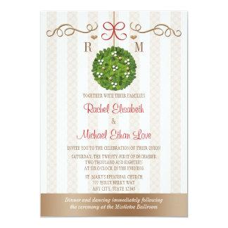 Monomgram Mistletoe Wedding Invitations