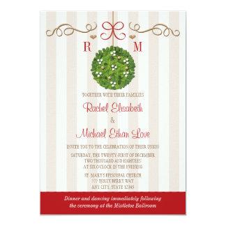 Monomgrammed Mistletoe Wedding Invitations