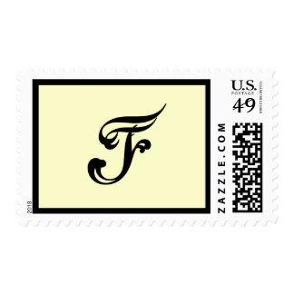 Monongram F wedding postage