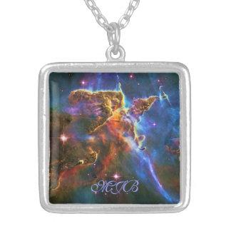 Monongram Mystic Mountains - Carina Nebula Square Pendant Necklace