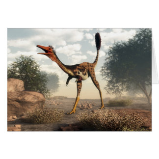 Mononykus dinosaur in the desert - 3D render Card