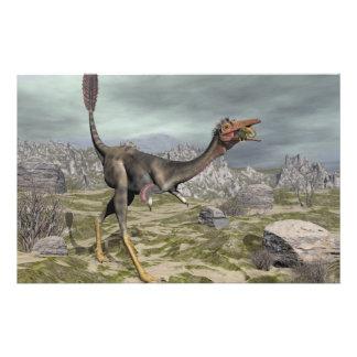 Mononykus dinosaur in the desert - 3D render Stationery