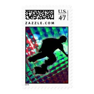 Monopatín abstracto verde y azul rojo de las cajas sellos