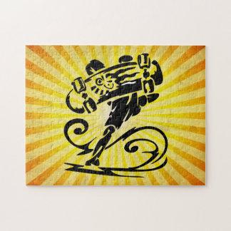 Monopatín amarillo del Grunge Rompecabezas