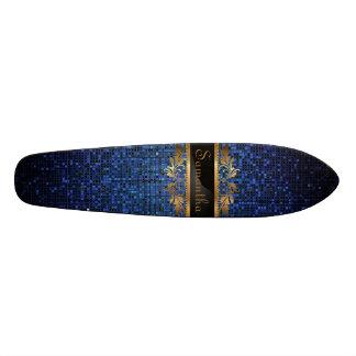 Monopatín azul de la escuela vieja del disco de la