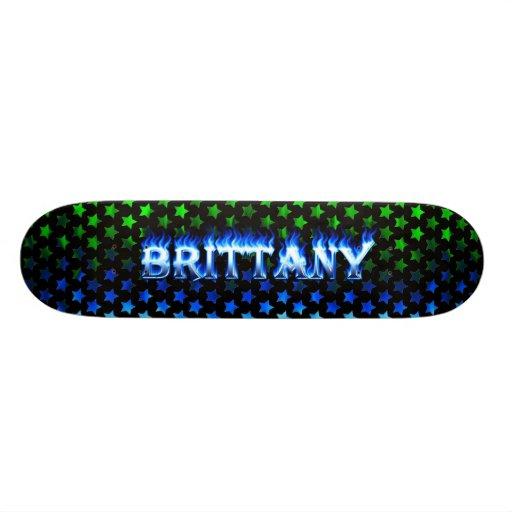 Monopatín azul de Skatersollie del fuego de Bretañ Skate Boards