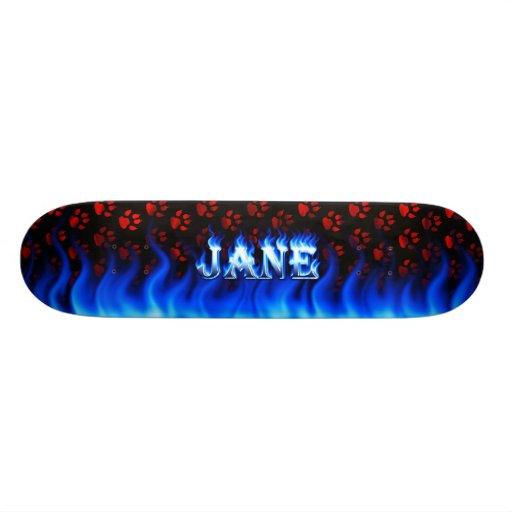 Monopatín azul de Skatersollie del fuego de Jane