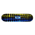 Monopatín azul de Skatersollie del fuego de Kim