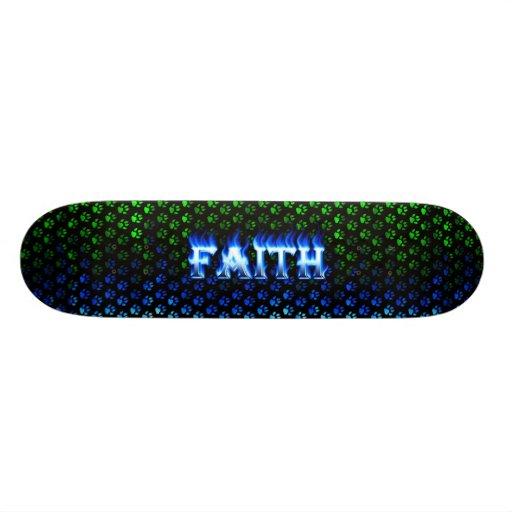 Monopatín azul de Skatersollie del fuego de la fe Monopatines Personalizados