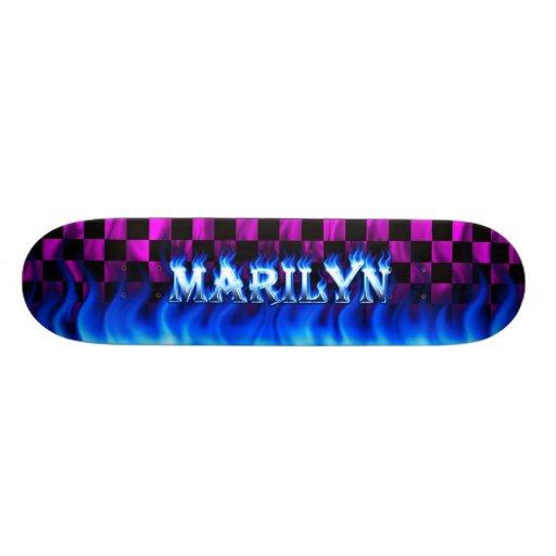 Monopatín azul de Skatersollie del fuego de Marily Skate Boards