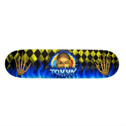 Monopatín azul de Skatersollie del fuego del cráne Tablas De Skate