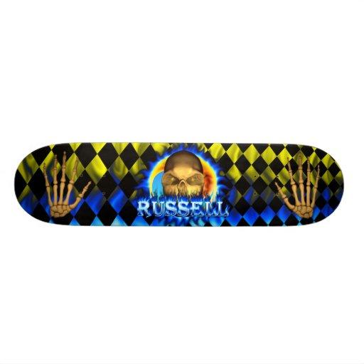 Monopatín azul de Skatersollie del fuego del cráne Skateboards