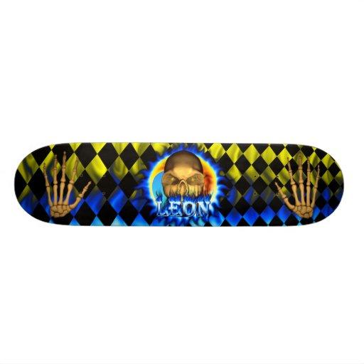 Monopatín azul de Skatersollie del fuego del cráne Patinetas Personalizadas