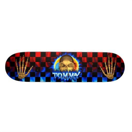 Monopatín azul de Skatersollie del fuego del cráne Skateboard