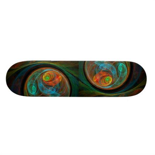 Monopatín azul del arte abstracto del renacimiento patin