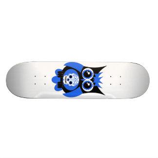 Monopatín azul del búho del cráneo del azúcar patinetas personalizadas