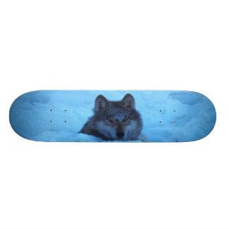 Monopatín azul del lobo de madera de la nieve