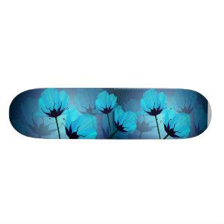 Monopatín azul eléctrico de las flores patines personalizados