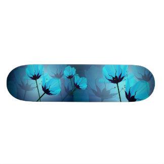 Monopatín azul eléctrico de las flores patinetas personalizadas