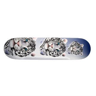 Monopatín blanco de la cara del tigre monopatines personalizados