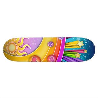 Monopatín - cielo retro de los años 60 del arte patines