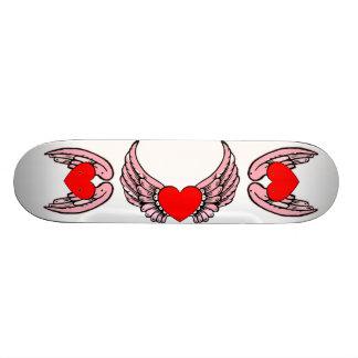 Monopatín con alas rosa 2 del corazón patín personalizado