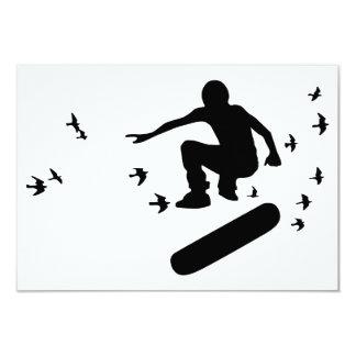 monopatín con los pájaros invitación 8,9 x 12,7 cm