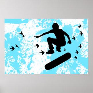 monopatín con los pájaros póster