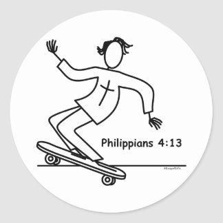 Monopatín cristiano pegatina redonda