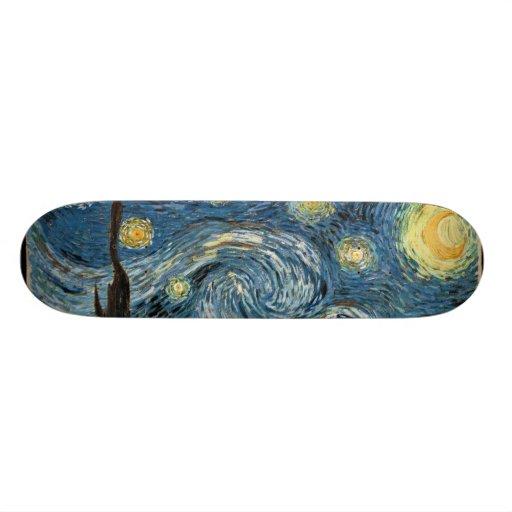 Monopatín de la noche estrellada de Van Gogh Tabla De Patinar