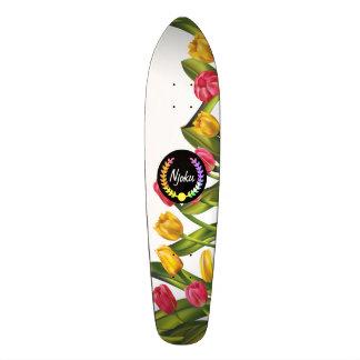 """Monopatín floral colorido de la """"guirnalda"""" de patineta personalizada"""