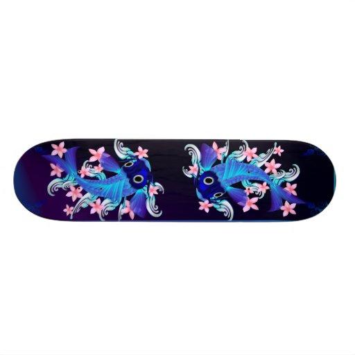 Monopatín Koi-Rosado azul de las flores Patín
