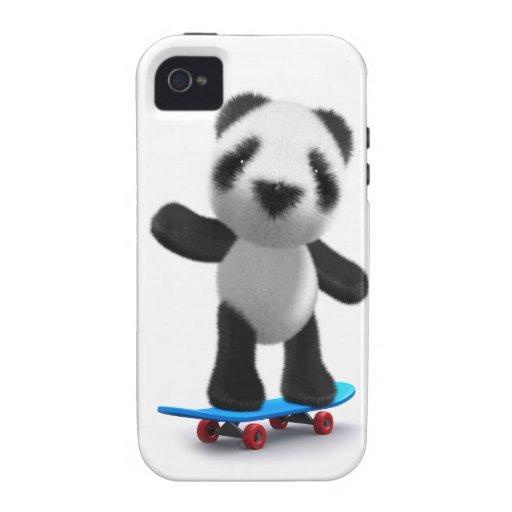 Monopatín lindo de la panda del bebé 3d iPhone 4/4S funda
