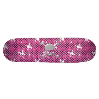 Monopatín lindo de SkullsPink con los lunares negr Skate Boards