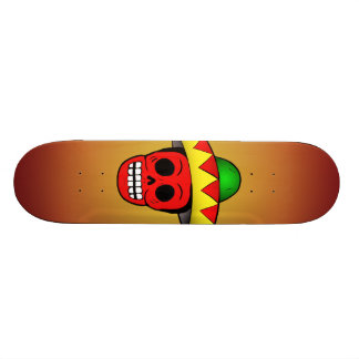 Monopatín mexicano del resplandor solar del cráneo skate board
