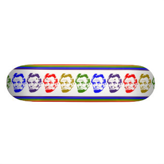 Monopatín multicolor retro de Abraham Lincoln