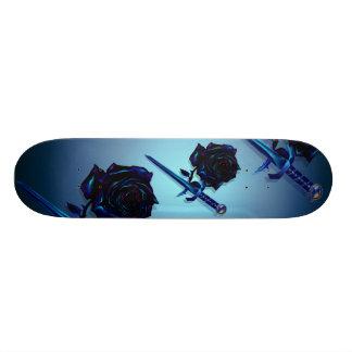Monopatín negro de la daga de los rosas N Tabla De Skate