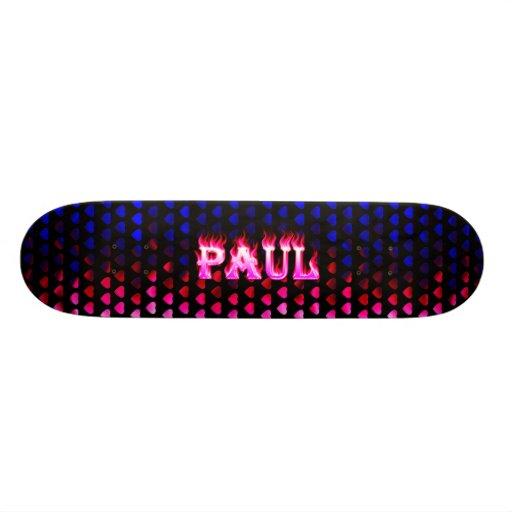 Monopatín rosado de Skatersollie del fuego de Paul