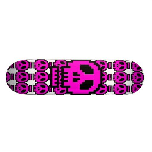 monopatín rosado del cráneo 8Bit Tablas De Skate
