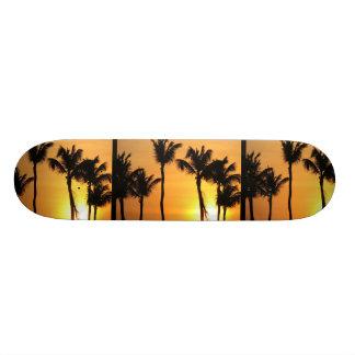 Monopatín tropical de la puesta del sol