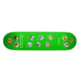 Monopatín verde con los profesionales como dibujos patines personalizados