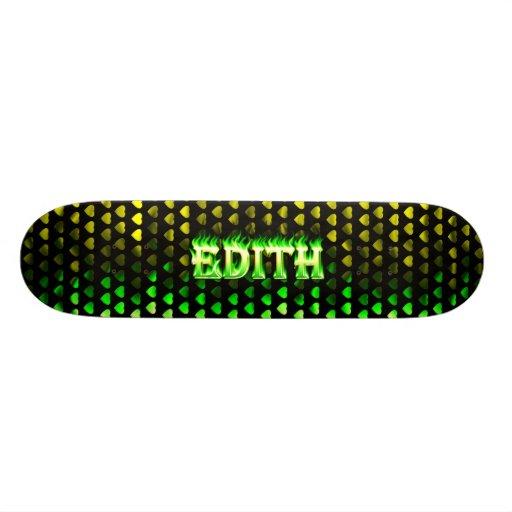 Monopatín verde de Skatersollie del fuego de Edith