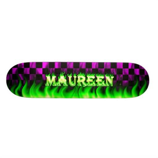 Monopatín verde de Skatersollie del fuego de Maure Patín