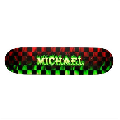 Monopatín verde de Skatersollie del fuego de Micha