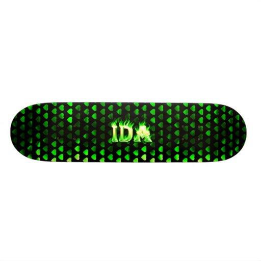 Monopatín verde de Skatersollie del fuego del Ida Patines Personalizados