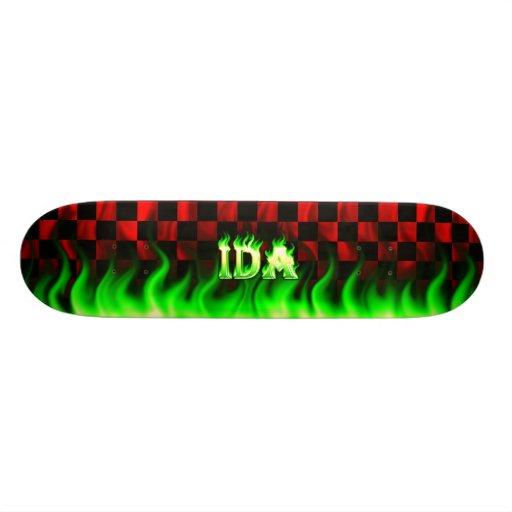 Monopatín verde de Skatersollie del fuego del Ida Tablas De Skate
