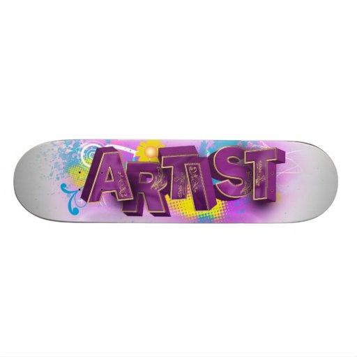 Monopatín violeta del artista 3D